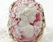 Grecian Goddess Red Cameo Ring 14K Rolled Gold Custom Jewelrly