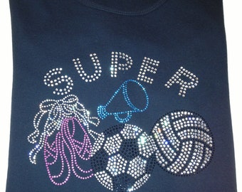 Mom T-Shirt,Super Mom Rhinestone Design,Ladies T-Shirt,Mom T-Shirt,Sports T-Shirts,Mom Bling