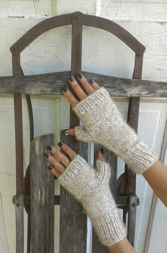 Fingerless Mittens Hand Knit Beige and Cream