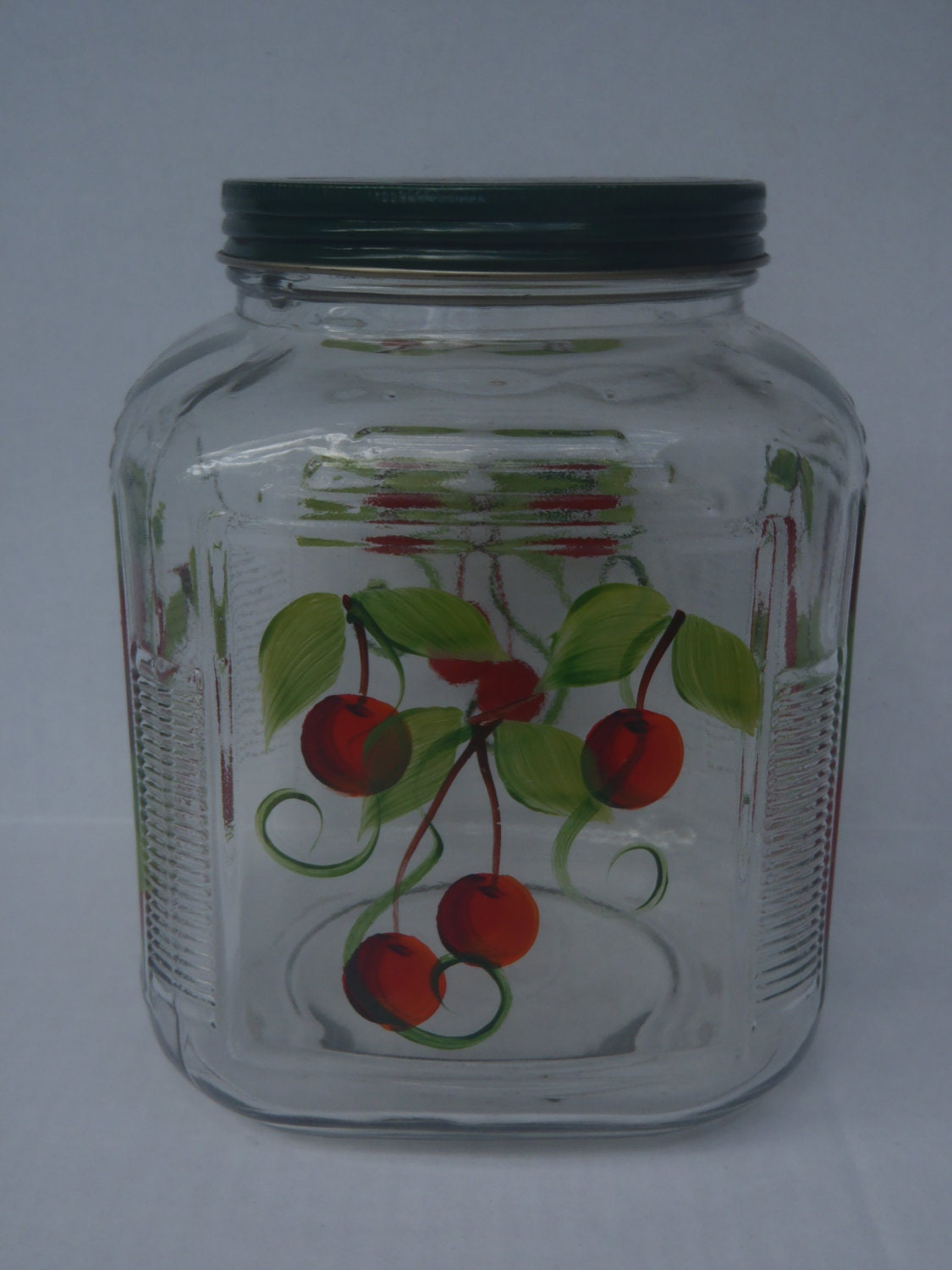 Cherries cookie jar retro kitchen decor large with by for Kitchen jar decoration