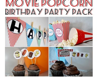 Movie Theater Popcorn Birthday Party Pack INSTANT DOWNLOAD make it yourself let's all go to the lobby characters retro DIY printable