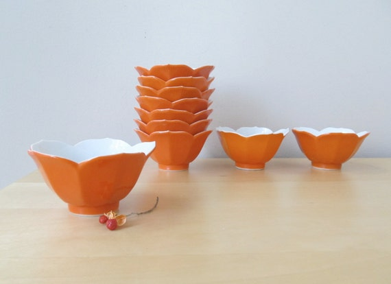 etsy orange lotus bowl, set of ten, halloween decor