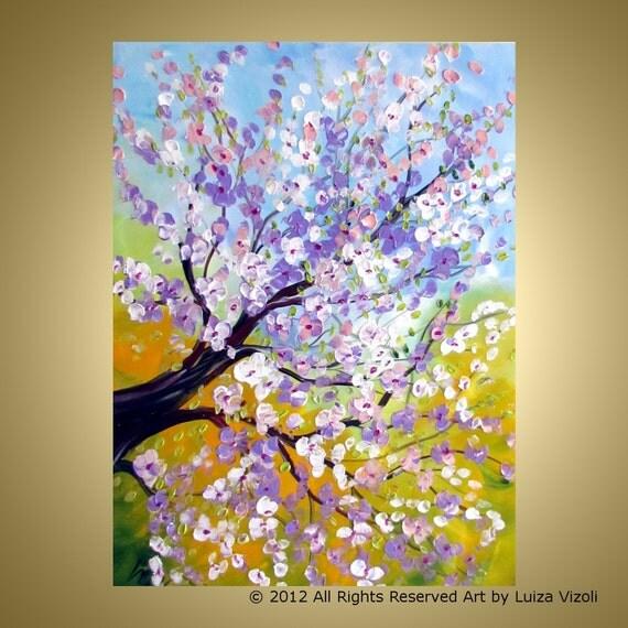 Original Modern Large Textured Tree Flowers XXL Painting SPRING Magnolia on 48x36 HUGE canvas by Luiza Vizoli