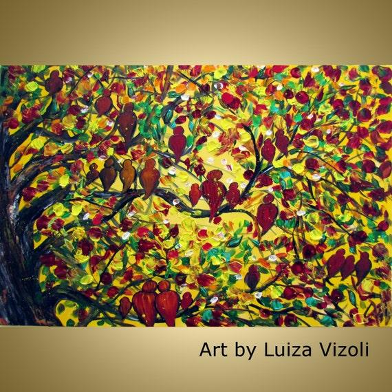 FAMILY REUNION  Original Oil Painting Modern Colorful Impasto Textured Fall Trees Birds Fantasy Art by Luiza Vizoli 36x24
