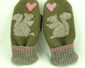 Wool Mittens Squirrel Appliqued Mittens Moss Green, Grey and Pink Fleece Lining Suede Palm Up Cycled Eco Friendly Size M