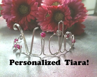 Tiara Crown Personalize with NAME or WORD Headpiece for Toddlers and Baby's first birthday Bride Tiara Headband