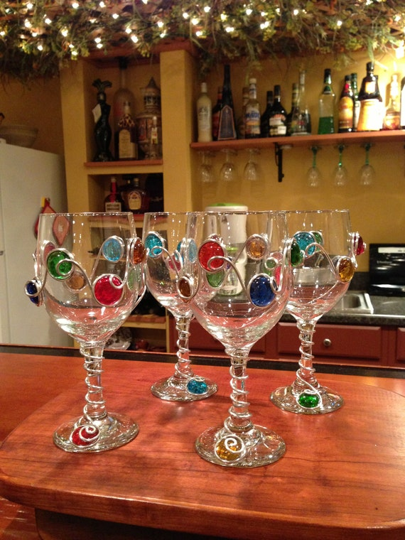 Items Similar To Decorated Wine Glass Or Champagne Flute