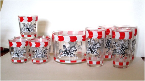 1940's Hazel Atlas Glass Circus Carousel Ice Bucket and Tumblers Kids Animals 10pc Set