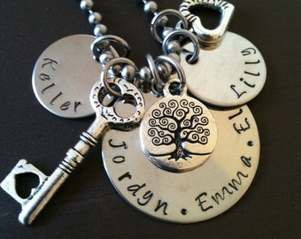 Hand Stamped Jewelry Mother's Charm Necklace Pendant Inspirational