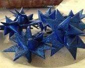 Set of 12 German Folded Paper Stars--Sapphire shimmer 2 inch