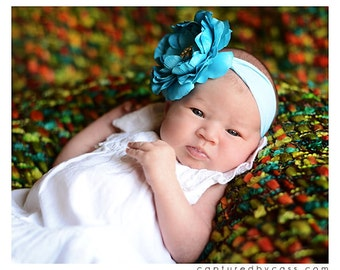 Turquoise Ruffle Ranuculus Flower with Rhinestone Bling Center on Nylon Headband Free Shipping On All Additional Items