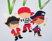 Pirate Boy Party - Set of 12 Assorted Pirate Boy Favor Tags by The Birthday House