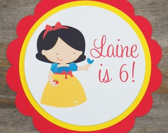 Snow White Party Sign - Personalized Snow White Party Decoration by The Birthday House