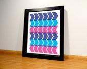 Chevron Geometric Pattern Print - 8x10 Purple and Blue Digital Print