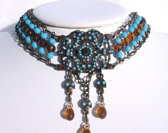 Turquoise & Amber Victorian Choker and Earring Set: Turqouise Beads and Amber Crystal Choker on Bronze Wire with Matching Earrings
