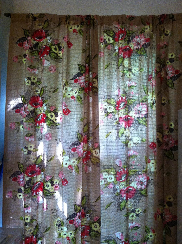 Vintage Floral Curtains 1940 S 1950 S