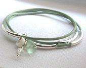 Seaglass Bangle Leather Bracelets