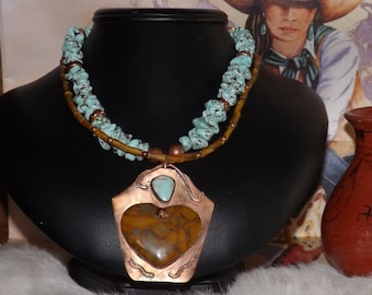 SALE reduced from 85.00  Gorgeous Southwest Turquoise and Copper Necklace