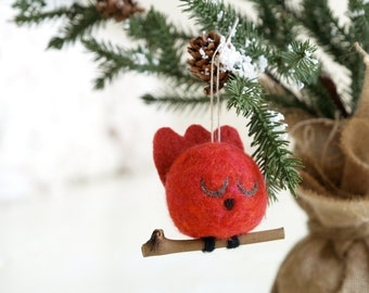 Cardinal Christmas Ornament, Tree Decoration, Red Bird, Rustic, Natural Holiday Decor