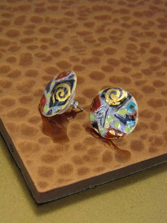 Small Textured Button Earrings in Lavender Multi