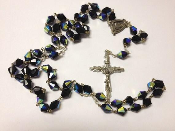 SALE gorgeous vintage aurora borealis black glass bead rosary circa 60s