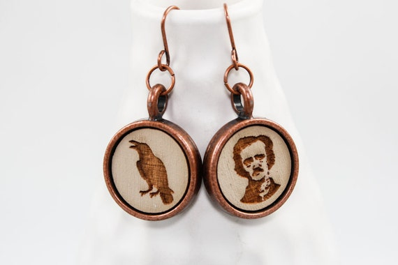 Cameo Earrings - Edgar Allan Poe and Raven