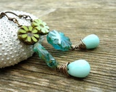 Long Dangle Earrings, Aqua Beaded Earrings Very Long, Turquoise Beadwork, Copper Earrings, Flower Floral Teal Earrings Wire Wrapped Bohemian