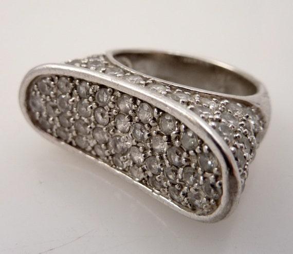 RESERVED for poeme1108 - Vintage Sterling Size 8 Bedazzled Finger Ring