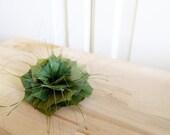Handmade Feather Flower Brooch / Hair clip / fascinator in Olive Green WINTER GARDEN