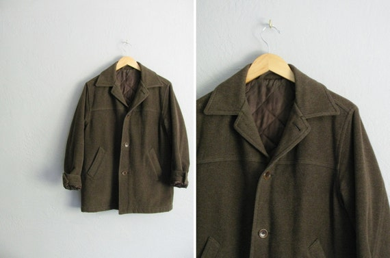 vintage dark army green simple minimalist coat or, the most PERFECT COAT EVER.