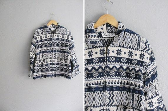 SALE / vintage '90s blue & white SOUTHWESTERN aztec-inspired TAPESTRY zip-front jacket. size m l.