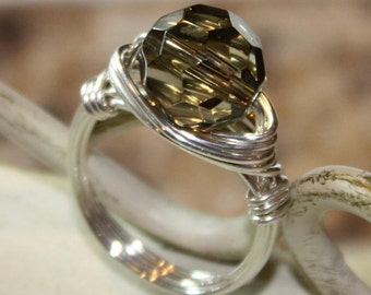 Autumn Gray Ring - sterling silver wire - smoky brown gray crystal - any size 2 3 4 5 6 7 8 9 10 11 12 13