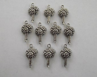 Boquet Charms- 10 charms- antique silver charms