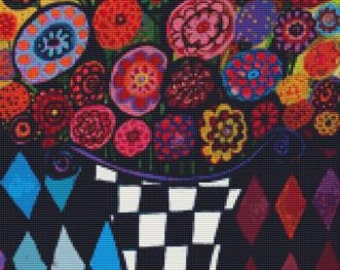 Modern Counted Cross Stitch Kit 'Harlequin Flowers' By Heather Galler