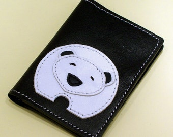 Black Leather Credit Card Wallet With Polar Bear Design