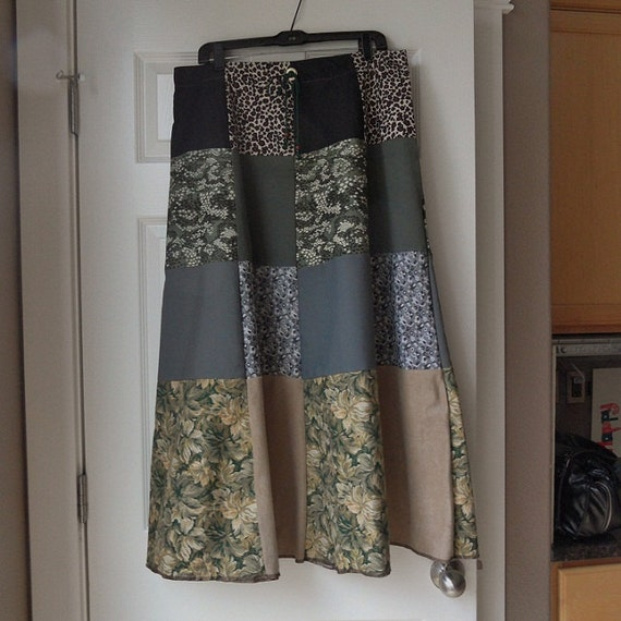 Patchwork skirt 34 in. waist womens long / hippie gypsy boho / green gray black tan / flower leopard