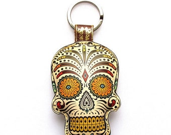 Special Edition Sugar Skull / Day of the Dead / Dia de Muertos Keychain / Keyring / Bag Charm