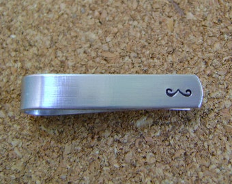 Mustache Tie Clip - Hand Stamped Moustache Tie Bar - Movember - Birthday Gift - Groomsmen Gift - Anniversary or Just Because