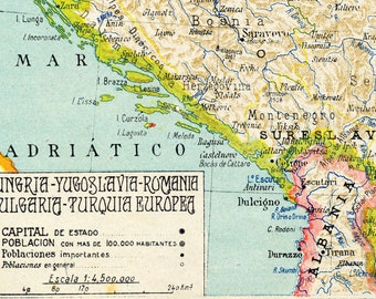 1940 Spanish Vintage Map of Hungary, Yugoslavia, Romania, Bulgaria, and Turkey in Europe