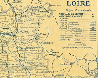 Vintage Map of Loire and Haute-Loire. Back-to-back Map Printed ca. 1925 - Antique Loire Map