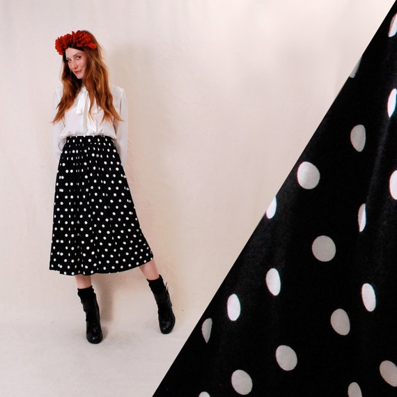 Vintage High Waist Skirt xs/s/m - high waisted skirt, black and white polka dot print, 70s 80s fashion - FREE Worldwide Shipping