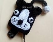Instant Download Amigurumi Crochet PDF Pattern - Black And White Bulldog Key Covers