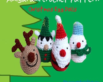 Instant Download Amigurumi PDF Crochet Pattern - Christmas egg dolls