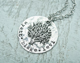 Custom Family Tree Necklace.  Perfect Mother's Day Gift.  Up to 3 names.  Antique Silver Filled.  Jewelry by Sweet And Simple.