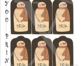 Snownman Tags Download Primitive Printable Christmas Gift Labels Prim Digital Uprint DIY Scrapbooking Folkart Mixed Media Crafts