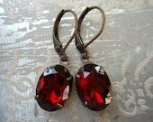 BLAZE, Red Earrings, Vintage Rhinestone Earrings, Garnet Red Glass Jewel Earrings, Estate Style Earrings