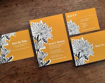 Printable Wedding Invitation Set - Dahlia - Orange Wedding Invitation Printables, Instant Download Save the Date, Wedding RSVP, Info Card