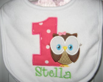 Baby girl owl Birthday bib, First Birthday bib, look whoo's owl bib, monogrammed bib