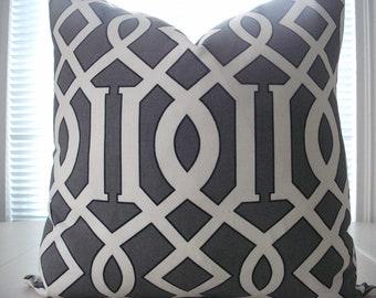 GEOMETRIC -Throw and Lumbar Decorative Pillow Covers--Designer Fabric-- Throw/Lumbar/Toss Pillow -Charcoal/Black /Ivory, COTTON