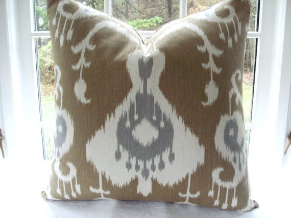 BOTH SIDES-Ikat --Designer Decorative Pillow Cover --Cafe Au Lait Tan Ivory , Steel Grey Throw and Lumbar Pillow Covers